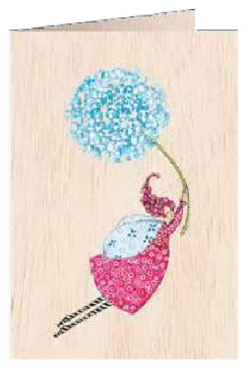 Karnet drewniany C6 + koperta Kobieta z dmuchawcem