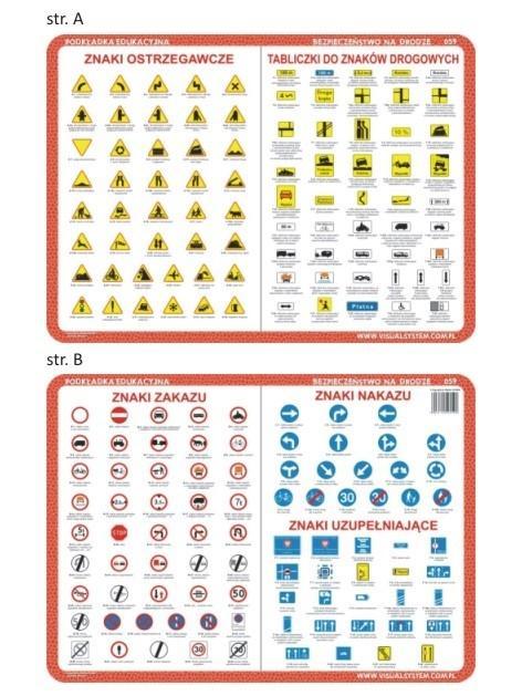 Podkładka edu. 059 - Znaki ostrzegawcze, zakazu...