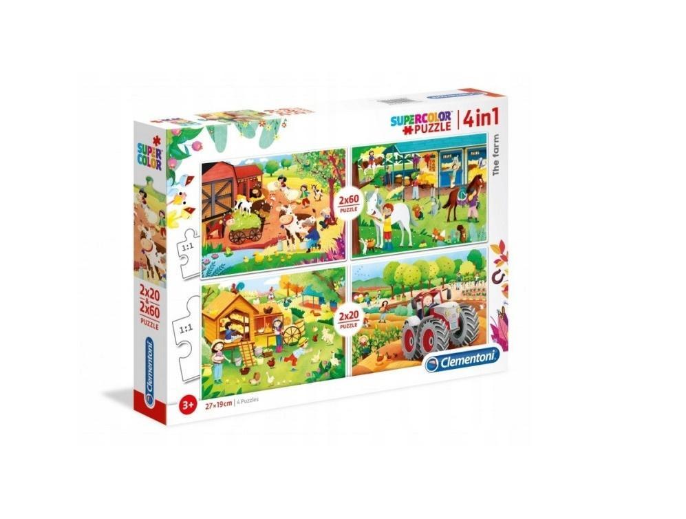 Puzzle 2x20 + 2x60 Super kolor The farm