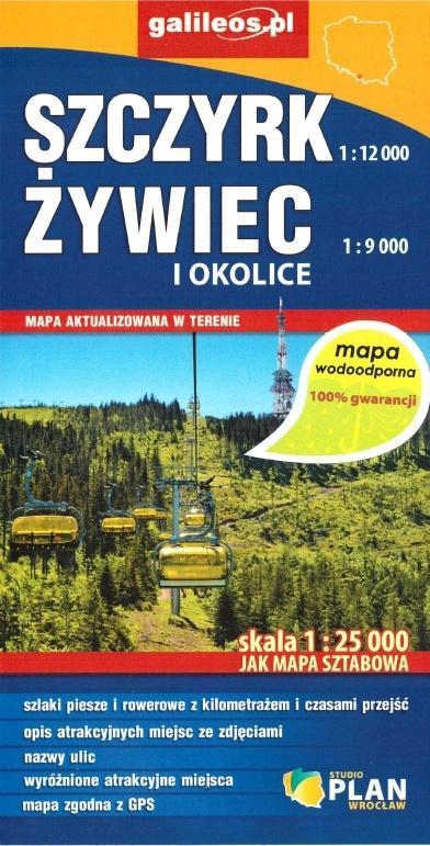 Mapa wodoodporna - Szczyrk, Żywiec i okolice