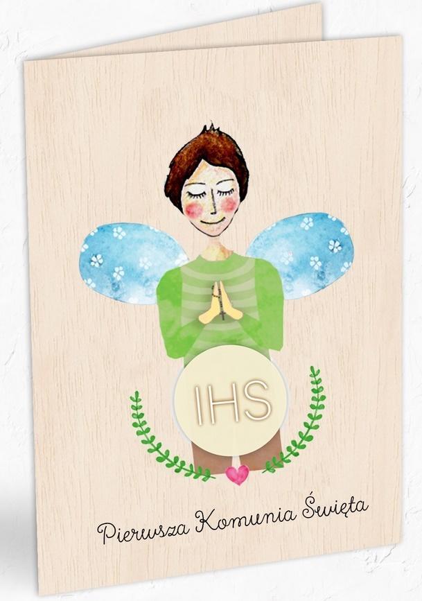 Karnet drewniany C6 Komunia chłopiec + koperta