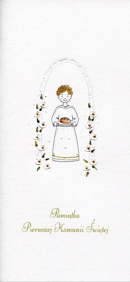 Karnet Komunia Chłopiec chleb MAK