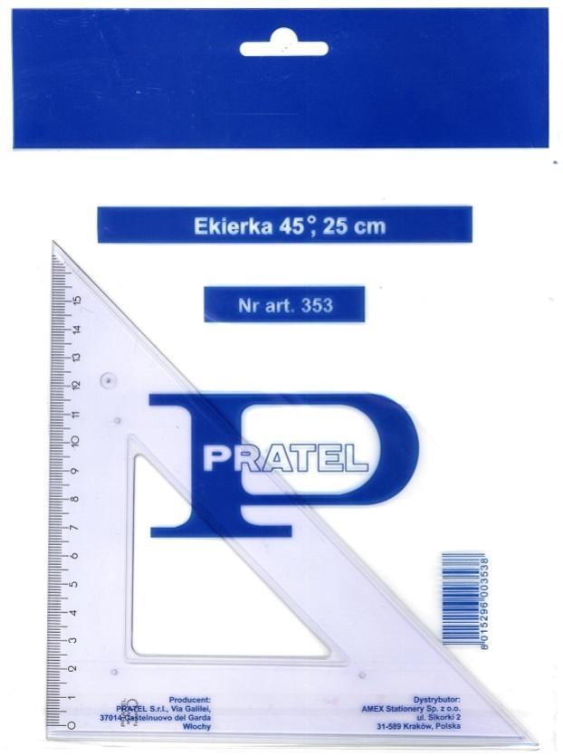 Ekierka 25cm 45 stopni PRATEL