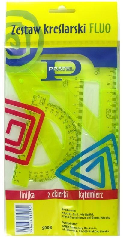 Zestaw kreślarski fluoresc. z linijką 16cm PRATEL