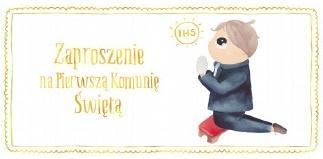Zaproszenie - Komunia chłopiec złoty (10 szt.)