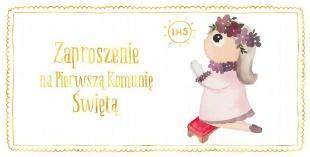 Zaproszenie - Komunia dziewczynka złoty (10 szt.)