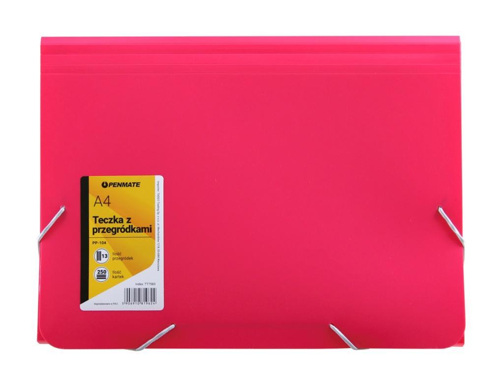 Teczka z przegródkami A4 PP-104 różowa PENMATE