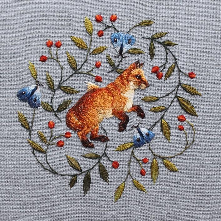 Karnet kwadrat z kopertą Fox and Butterflies