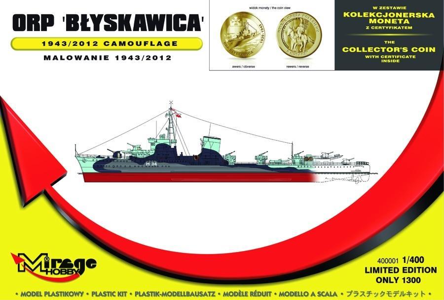 Okręt ORP Błyskawica z Kolekcjonerskim Dukatem