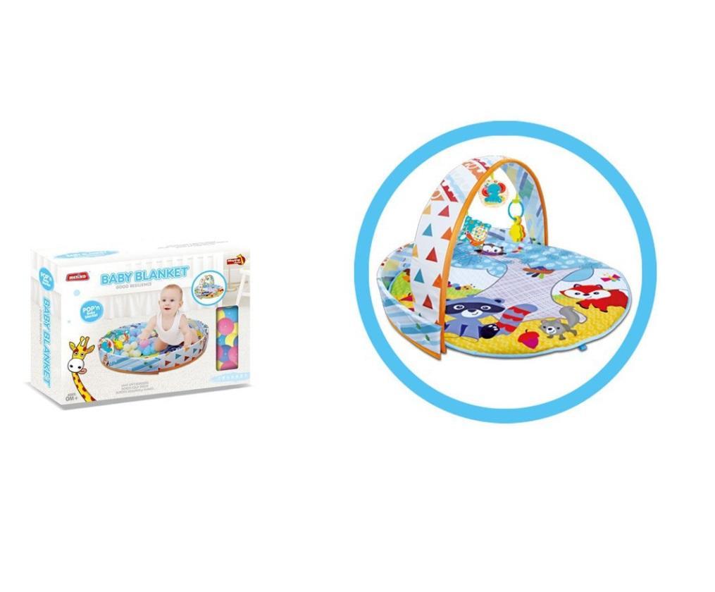 Mata edukacyjna 2w1 kojec z piłeczkami niebieski