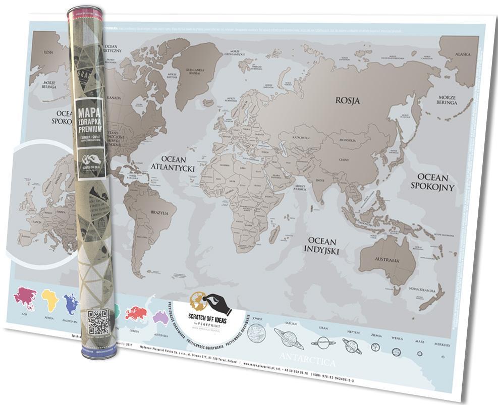 Mapa Zdrapka Premium. Europa, Świat