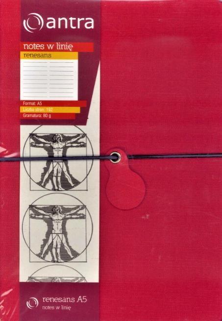 Notes A5 Linia Renesans Czerwony ANTRA