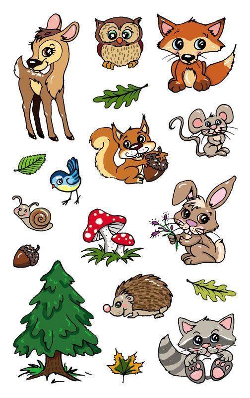 Naklejki foliowe metaliczne - leśne zwierzęta