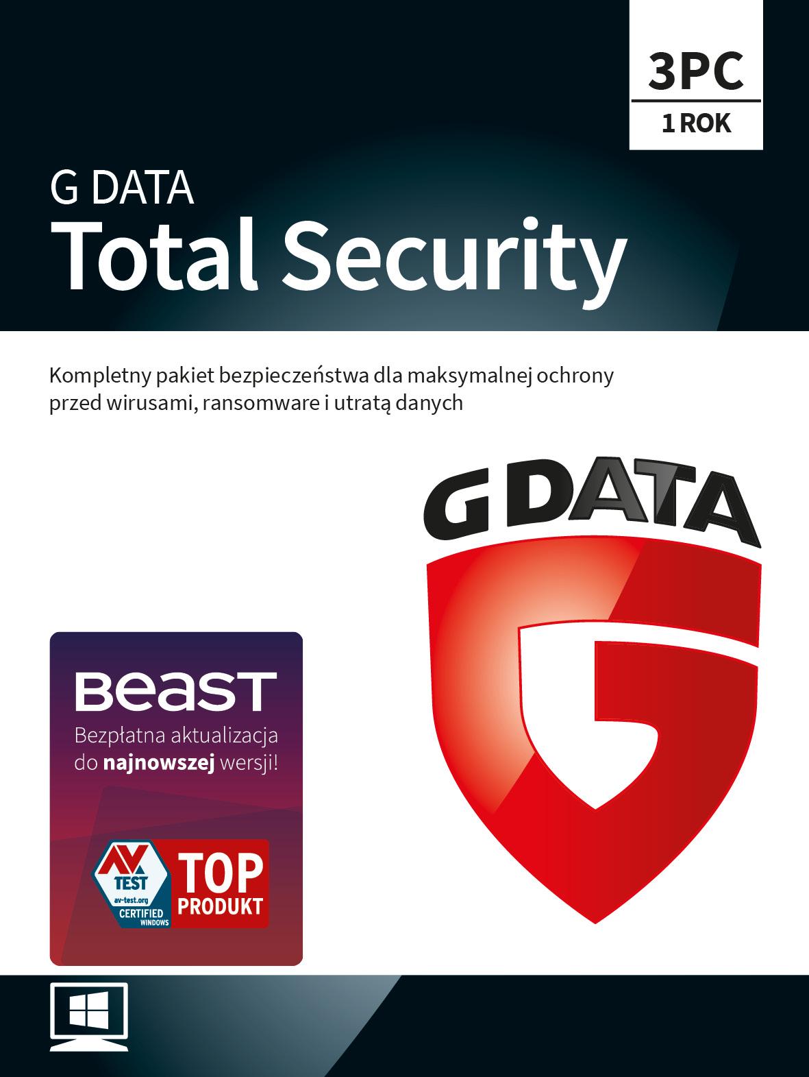 Program Antywirusowy G DATA Total Security 12 miesięcy (3 użytkowników)