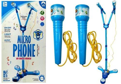 Mikrofony Zestaw karaoke niebieski statyw