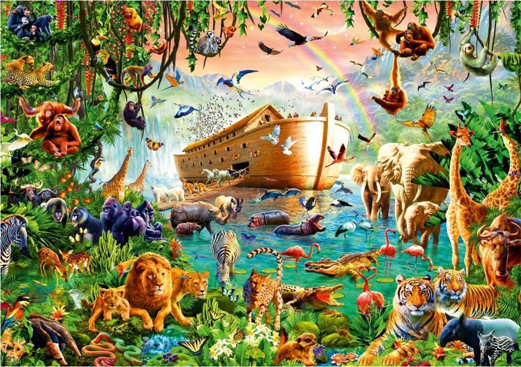 Puzzle 1000 Wyjście zwierząt z Arki Noego