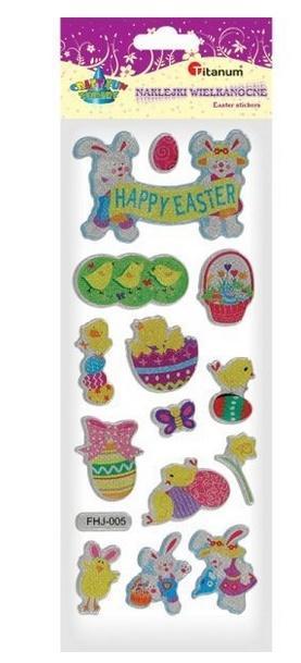 Naklejki wypukłe Happy Easter mix 14szt