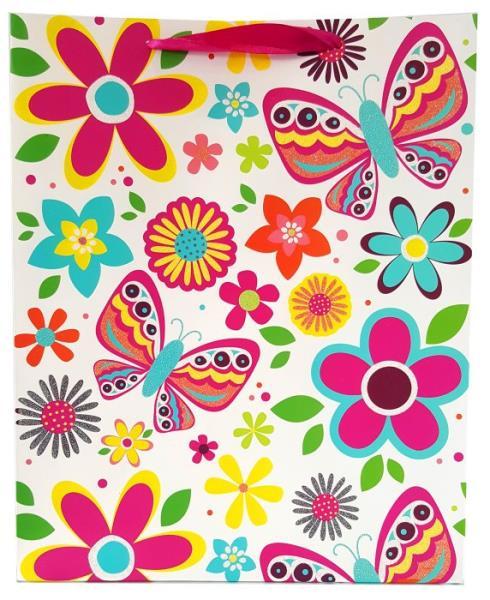 Torebka prezentowa kwiaty i motyle 1327C 18x23x10cm p12, cena za 1szt