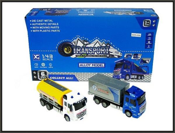 Auto kontener/cysterna 16cm z napędem, światło dźwięk p6 XG879-A63B HIPO cena za 1 szt
