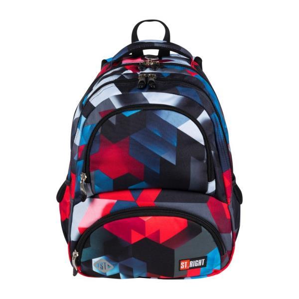 Plecak 4-komorowy ST.RIGHT BP-07 Czerwone klocki 3D CACA