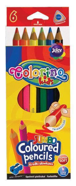 Kredki ołówkowe trójkątne 17,5 cm Jumbo 6 kol + tem. Colorino Kids