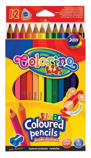 Kredki ołówkowe trójkątne 17,5 cm Jumbo 12 kol + tem. Colorino Kids