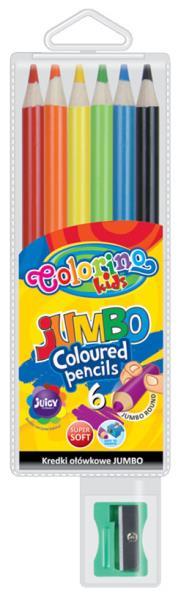 Kredki ołówkowe okrągłe Jumbo 6 kol + temperówka Colorino Kids 33084