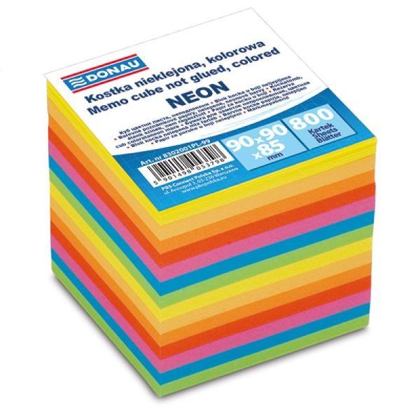 Kostka DONAU nieklejona, 90x90x85mm, 800 kartek, neon, mix kolorów