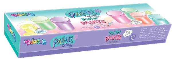 Farby plakatowe 12 kolorów 20 ml Colorino Kids Pastel 87812