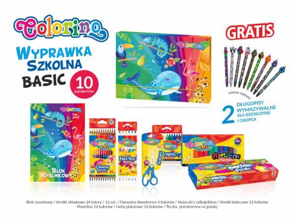 Wyprawka szkolna BASIC 10 elementów Colorino Kids 89212