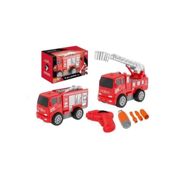 Auto Straż pożarna z drabiną do skręcania (wiertarka i wkrętarka w zestawie) w pudełku ASKATO Cena za 1szt