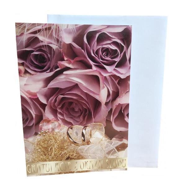 PROMO Karnet złoty Gratulacje z okazji Ślubu p5 Verte cena za 1szt
