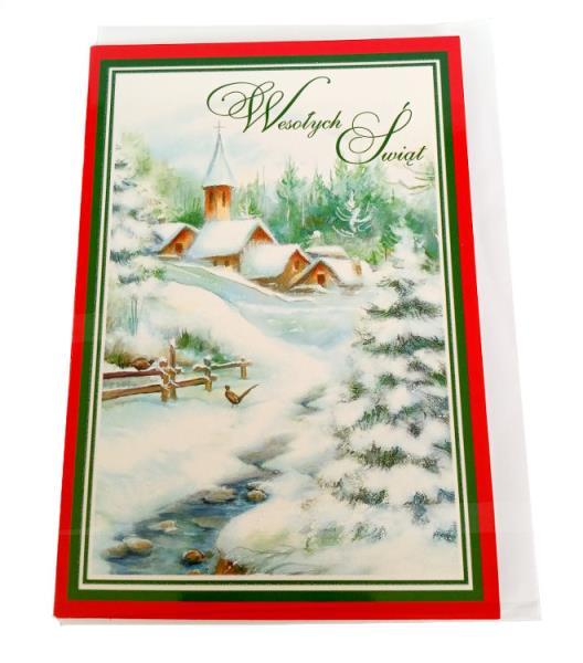 PROMO Karnet złoty Boże Narodzenie (zimowy pejzaż) p5 Verte cena za 1szt