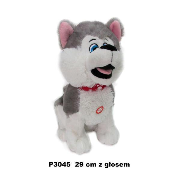 Pies husky z głosem 29 cm