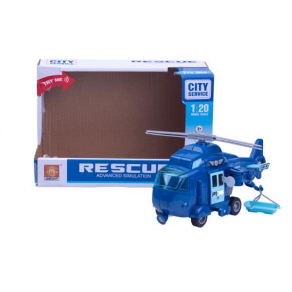 Helikopter światło i dźwięk niebieski w pudełku 3788