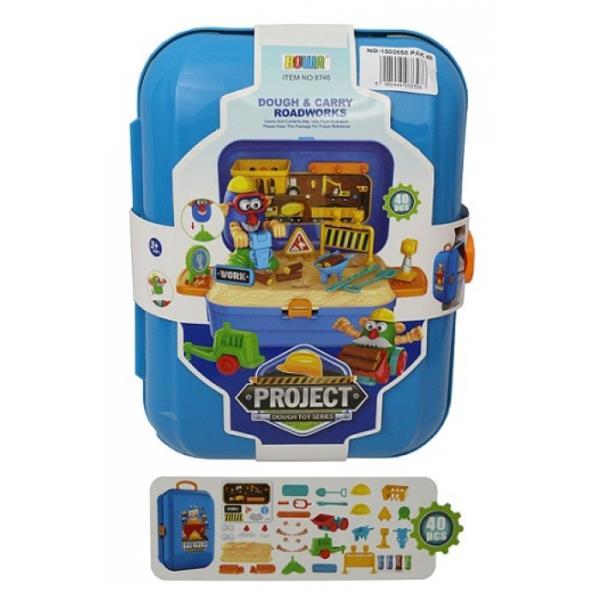 Ciastolina w walizce roboty drogowe 42el 1003858