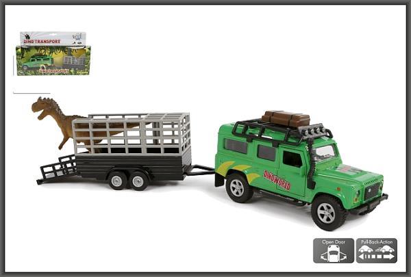 Auto Land Rover przyczepa z dinozaurem