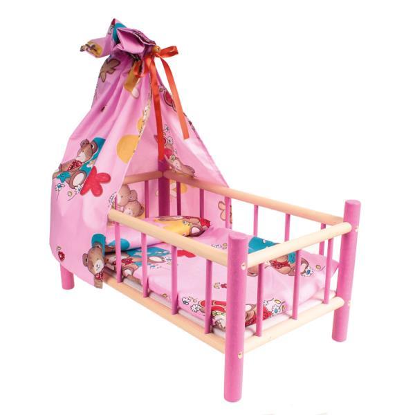 Łóżeczko z baldachimem drewniane kolorowe z pościelą 60cm LAZUR