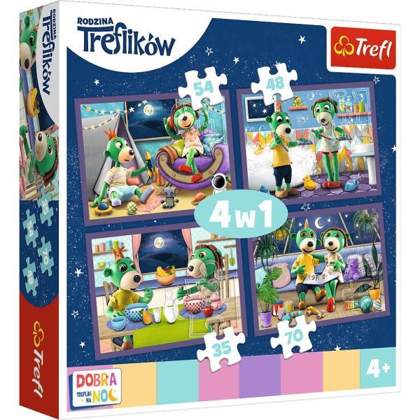 Puzzle 4w1 Wieczorne rytuały Treflików - Dobranoc, Trefliki na dobranoc 34370 Trefl