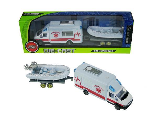 Auto Van Pogotowie z przyczepą i pontonem 17x13cm 889-300C HIPO cena za 1 szt