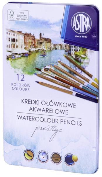Kredki akwarelowe z drewna cedrowego Astra Prestige 12 kolorów