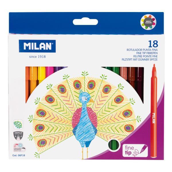 Flamastry z cienką końcowką 18 kolorów 06F18 MILAN