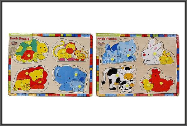 Puzzle drewniane 30x22,5cm Zwierzęta 2 wzory 610076 HIPO cena za 1 szt