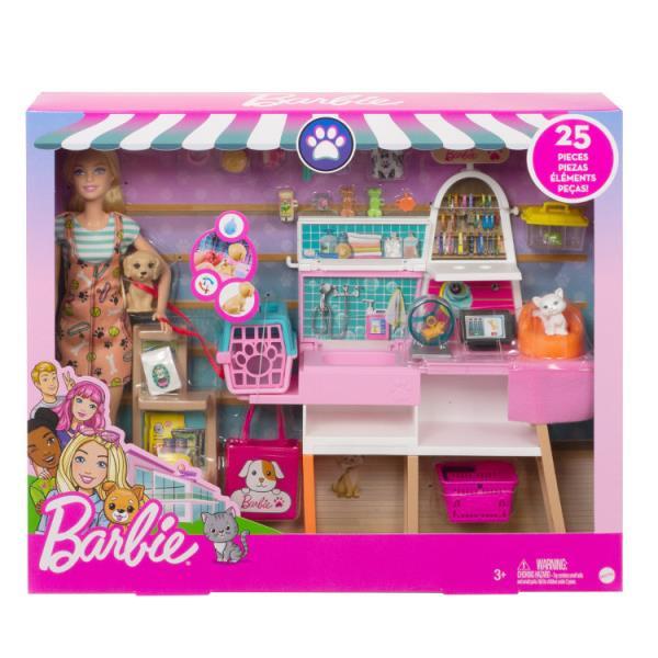 Barbie Sklepik-salon dla zwierzaków Zestaw + lalka GRG90 p3 MATTEL