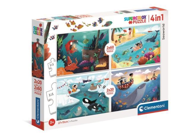 Clementoni Puzzle 2x20 + 2x60el Seaworld Wodny świat 21308