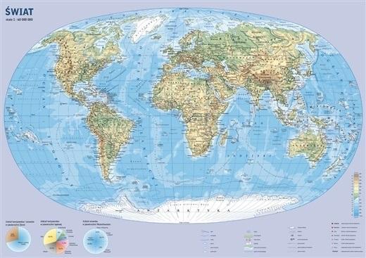 Świat. Mapa ścienna fizyczna 1:60 000 000