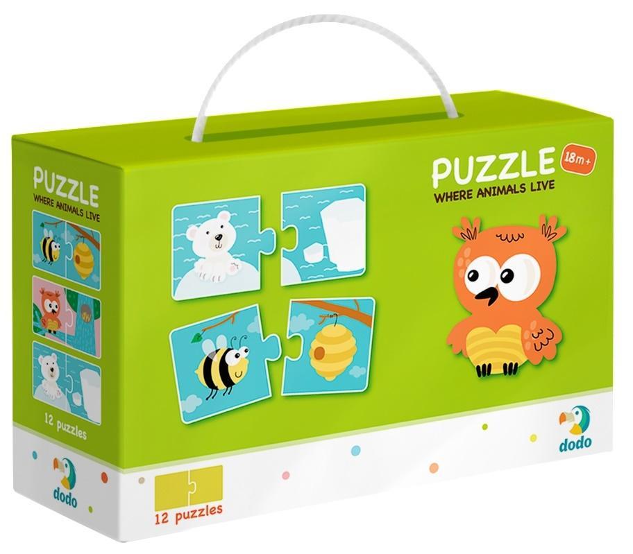 Puzzle 12x2 Gdzie żyją zwierzęta?