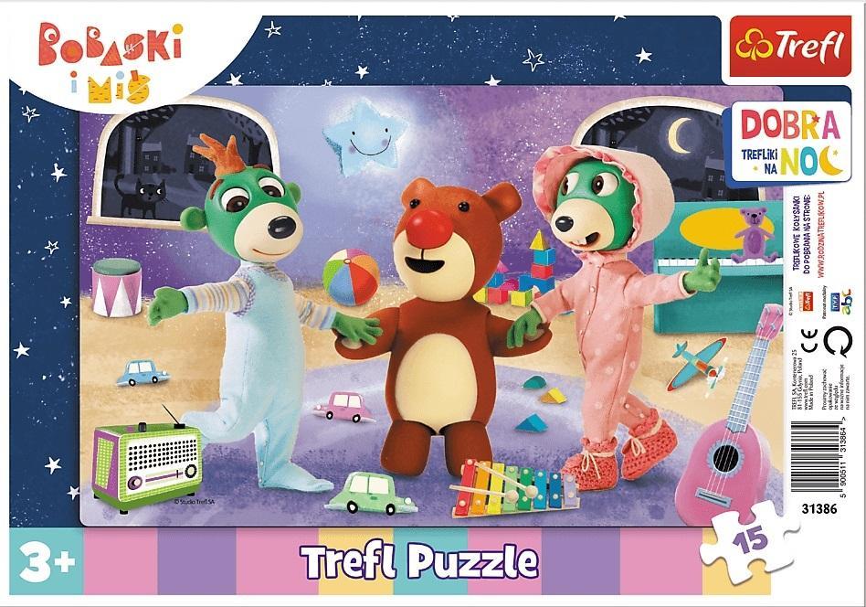 Puzzle ramkowe 15el Czas na sen - Dobranoc, Trefliki na noc / Studio Treflików Bobaski i Miś 31386 TREFL