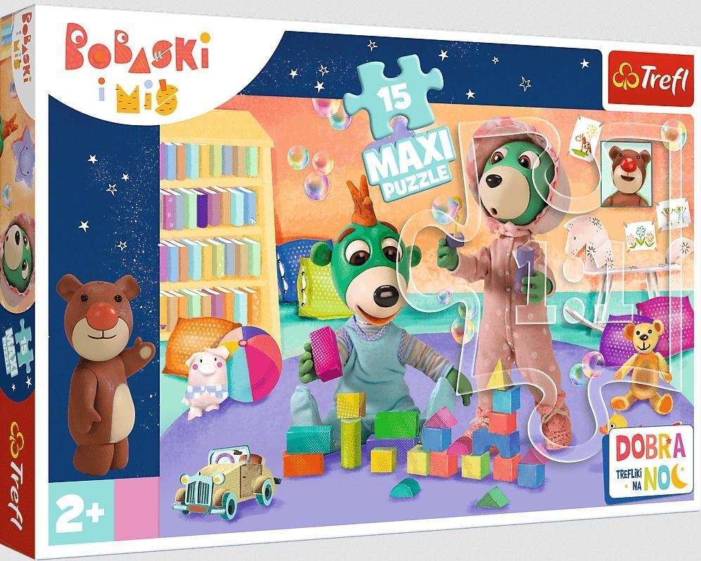 Puzzle 15el Maxi Wesoły świat Bobasków - Dobranoc, Trefliki na noc. 14332 Trefl