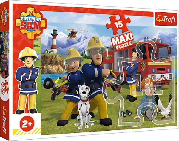 Puzzle 15el MAXI - Drużyna w akcji. Strażak Sam 14333 Trefl
